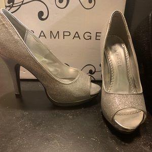 Glittery silver high heels